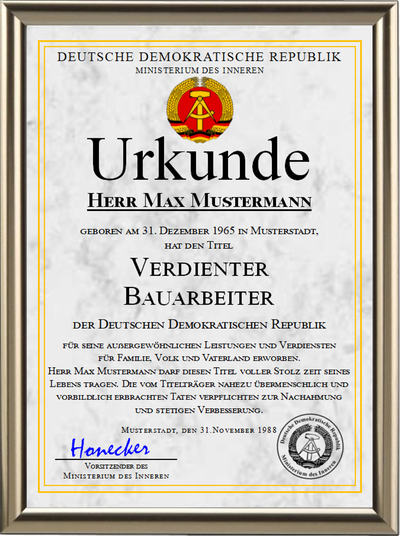 DDR - Verdienter Bauarbeiter - UK-1207