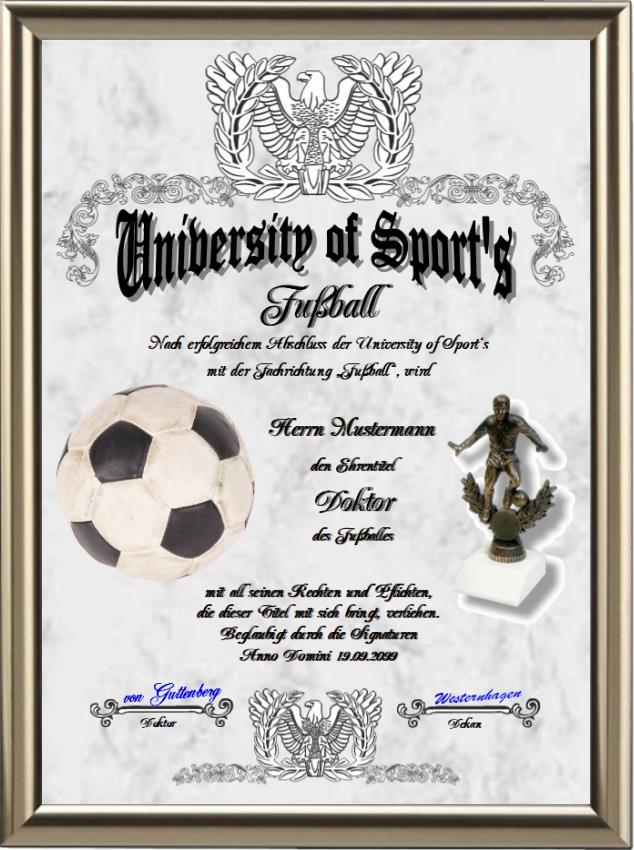 Doktortitel für Fußballspieler - UK-121