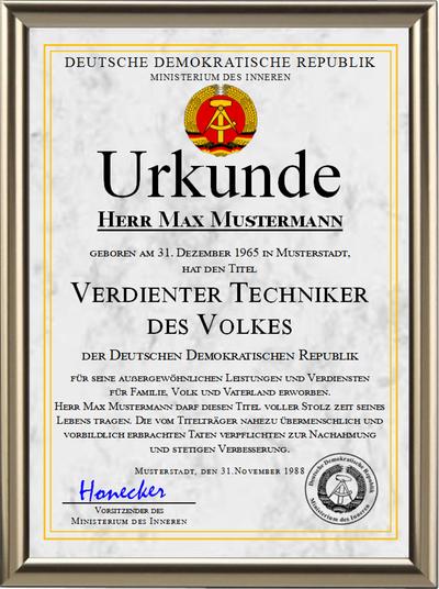 DDR - Verdienter Techniker des Volkes - UK-1234