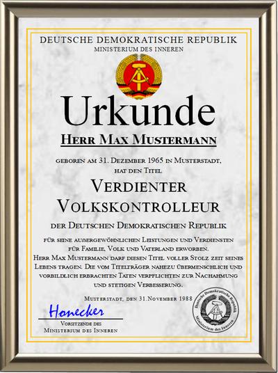 DDR - Verdienter Volkskontrolleur - UK-1237