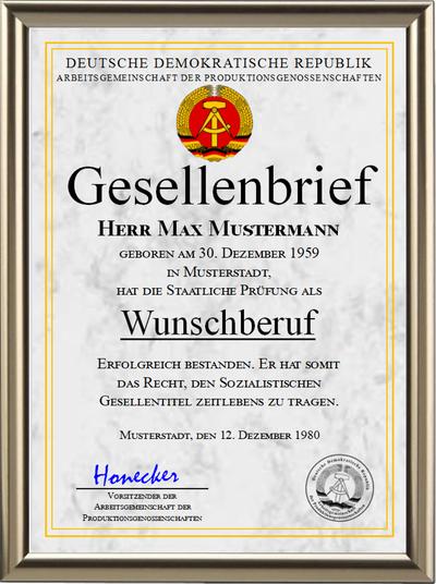 DDR - Gesellenbrief der Arbeitsgemeinschaft der Produktionsgenossenschaften - UK-1263
