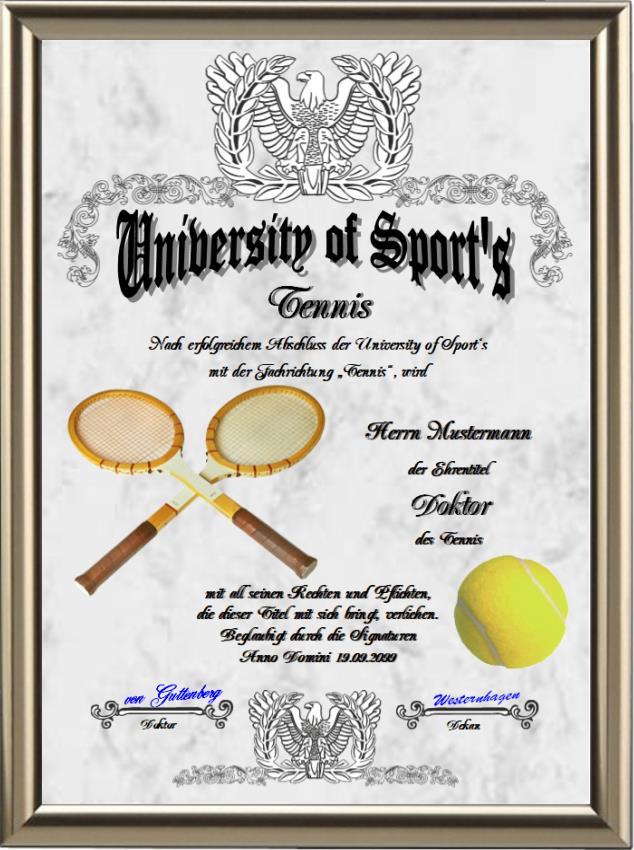 Doktortitel für Tennisspieler - UK-127