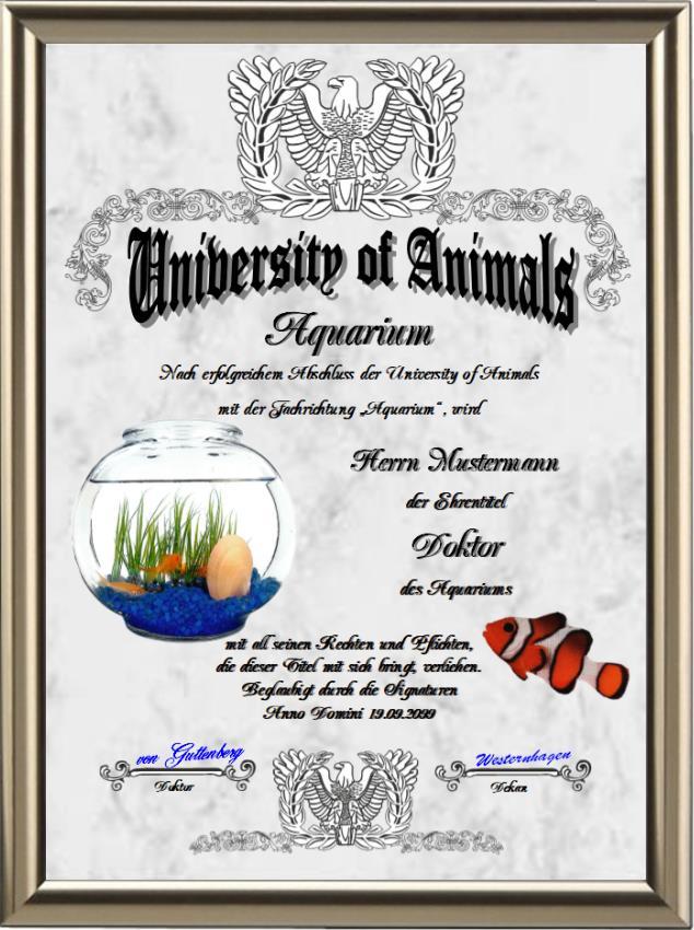 Doktortitel für Aquarium-Liebhaber - UK-136