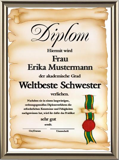 Diplom - Weltbeste Schwester - UK-156