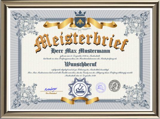 Premium deluxe Meisterbrief der Handwerkskammer mit Wunschberuf - Format DIN-A3 - UK-2021