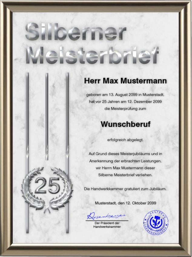 Silberner Meisterbrief der Handwerkskammer DIN-A3 - UK-2023