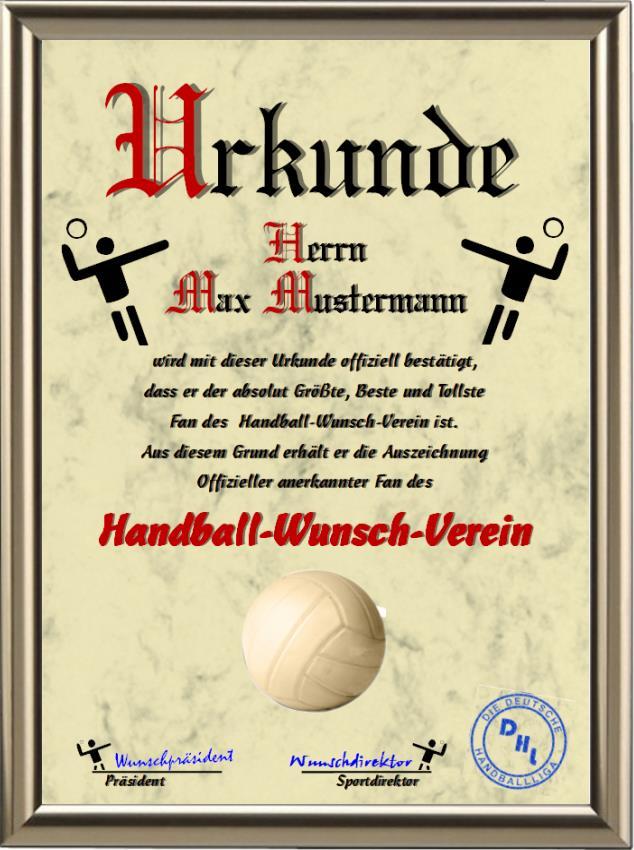 Offizieller anerkannter Fan eines Handball-Wunsch-Verein - UK-214