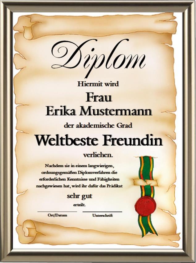 Diplom - Weltbeste Freundin - UK-240
