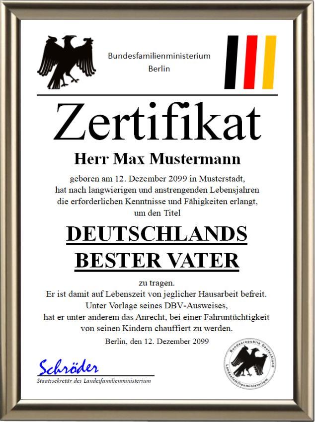 Bundeszertifikat - Deutschlands bester Vater - UK-244