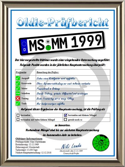 Persönlicher Oldie-Prüfbericht - UK-260