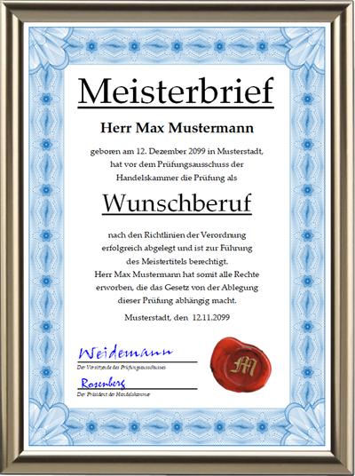 Meisterbrief deluxe der Handelskammer im hochwertigen blauen Design, incl. Wachssiegel - UK-287