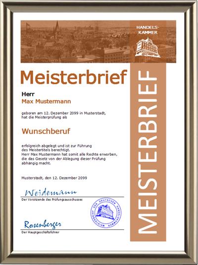 Meisterbrief der Handelskammer mit Wunschberuf - Braunes Steifendesign - UK-300