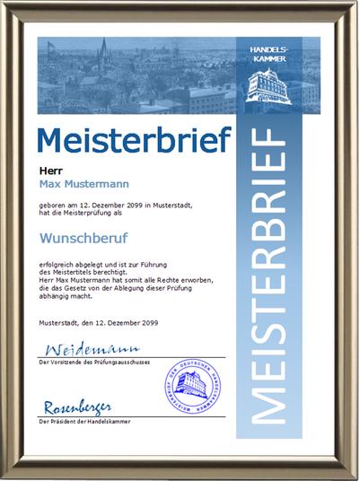 Meisterbrief der Handelskammer mit Wunschberuf - Blaues Steifendesign - UK-301
