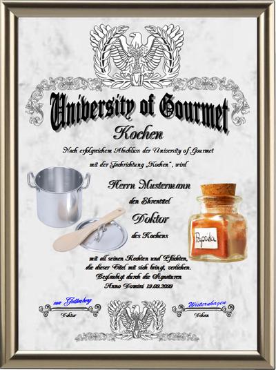 Doktortitel fürs Kochen - UK-319