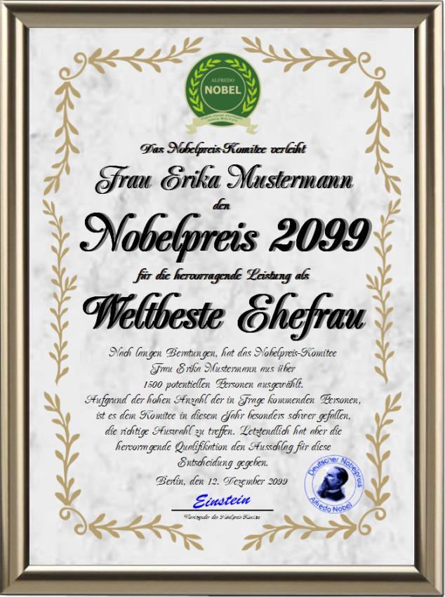 Nobelpreis für die Weltbeste Ehefrau - UK-321
