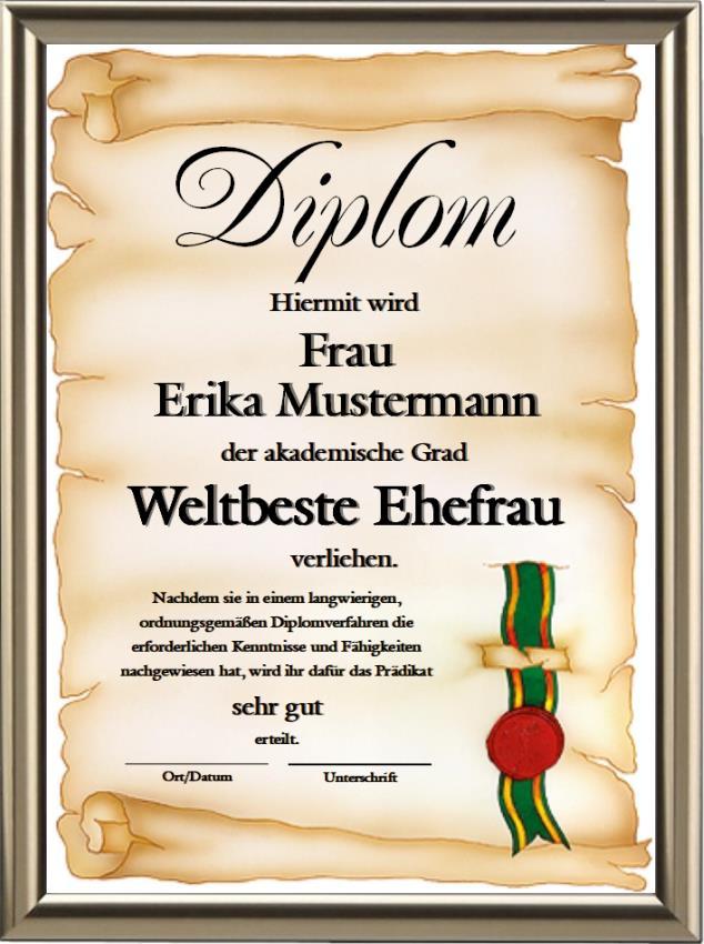 Diplom - Weltbeste Ehefrau - UK-323
