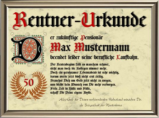 Rentner-Urkunde 1 - UK-339