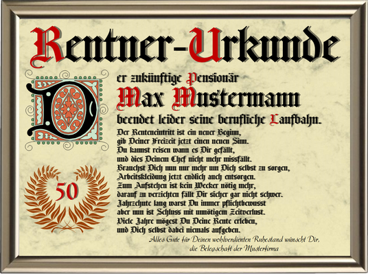Rentner-Urkunde 2 - UK-340