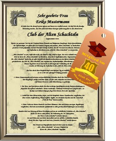 Club der Alten Schachteln zum 40. Geburtstag, incl. Anhänger - UK-466
