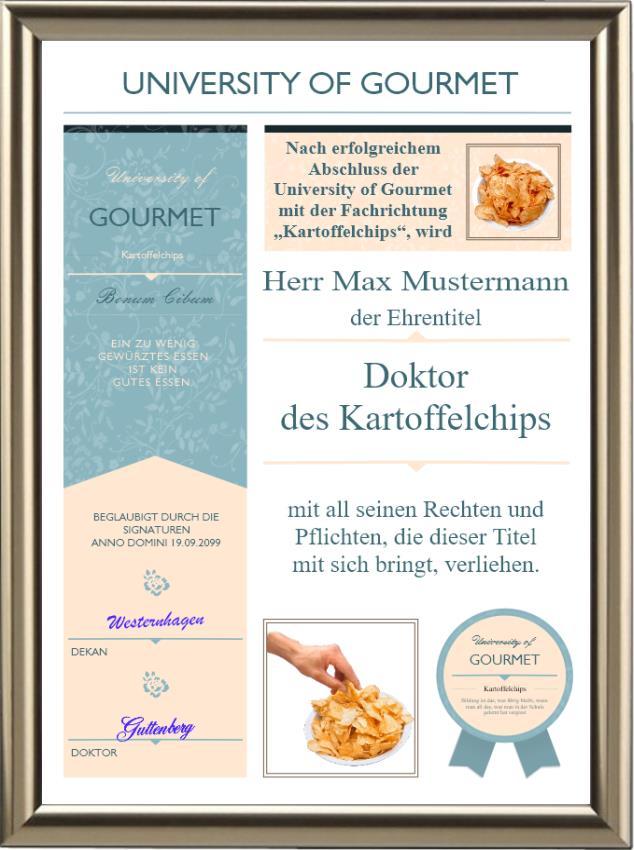 Doktortitel für Kartoffelchips-Liebhaber - Modern - UK-532