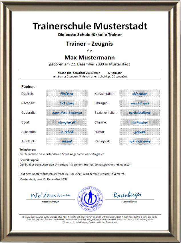 Trainer-Zeugnis - UK-575