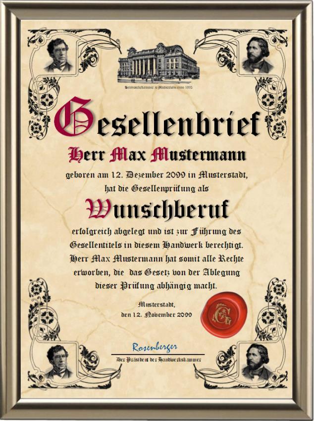 Gesellenbrief deluxe der Handwerkskammer - Classic - UK-579
