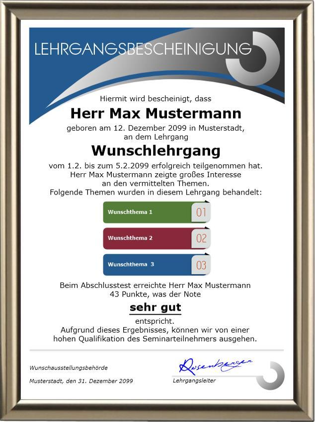 Lehrgangsbescheinigung - Premium - UK-646