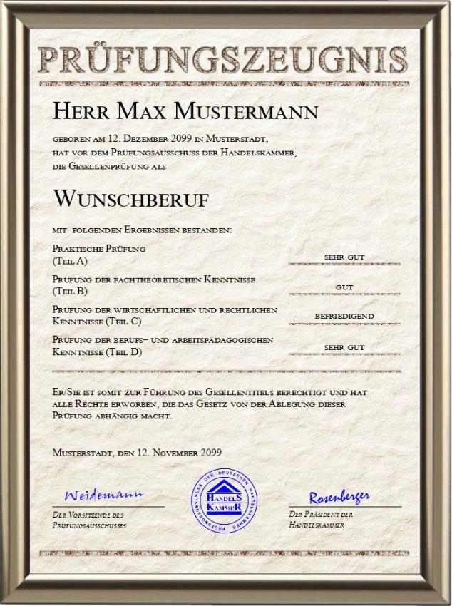 Gesellen-Prüfungszeugnis der Handelskammer im Stein-Design - UK-647