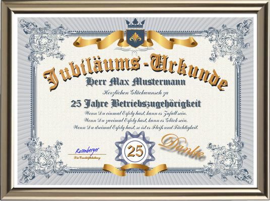 Betriebsjubiläums-Urkunde deluxe - DIN-A3 - UK-656