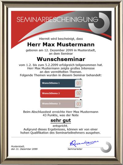 Seminarbescheinigung - Premium - UK-692