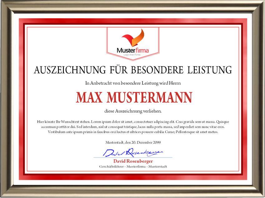 Auszeichnung für besondere Leistung im roten Design - UK-727
